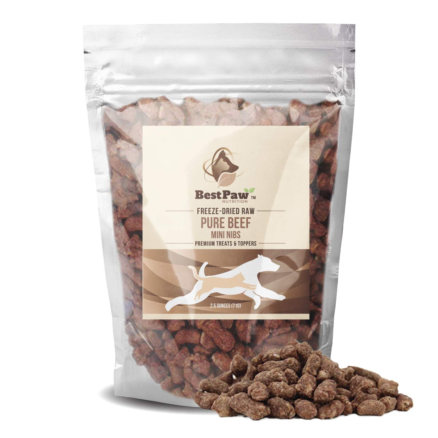 Pure Paw Nutrition Beef Nib Raw Treats Toppers Entrees for Dog and Cat Food (Treat Size) by Pure Paw Nutrition