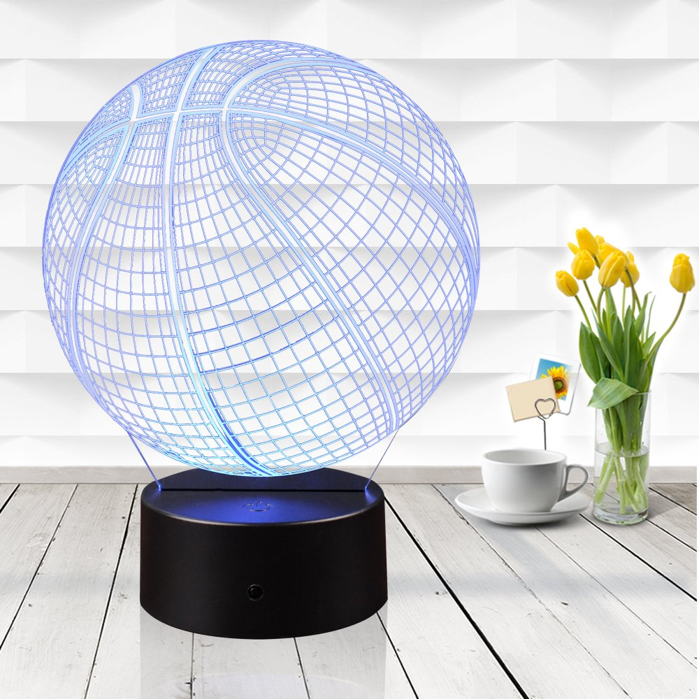 3D Illusion Basketball Night Light Lamp with 7 Color Change, Touch Base, Power by AA Batteries by AZALCO (Image #5)