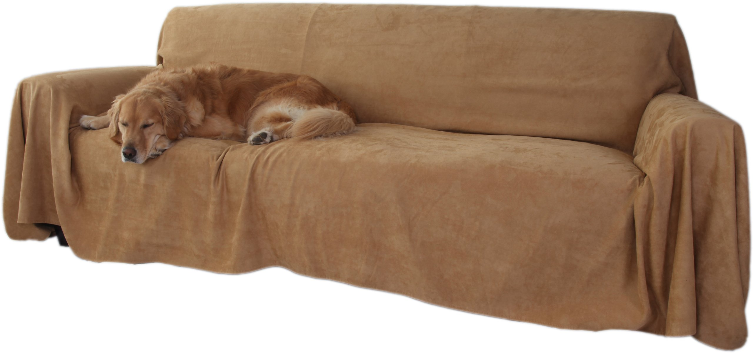 Floppy Ears Design Simple Faux Suede Couch Cover Protector, Tan, Large Three Cushion Couch Size by Floppy Ears Design