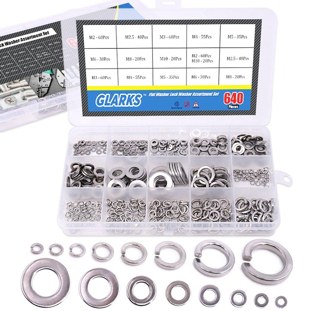 Glarks 640Pcs Metric Stainless Steel Flat Washers and Split Lock Washers Assortment Set for M2 M2.5 M3 M4 M5 M6 M8 M10 Screws Bolt