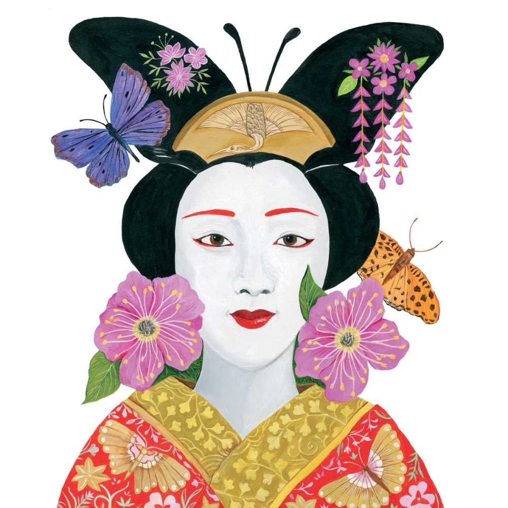 Paperproducts Design PPD 1252841 Madame Butterfly Beverage/Cocktail Paper Napkins,5''x5'', Multicolor