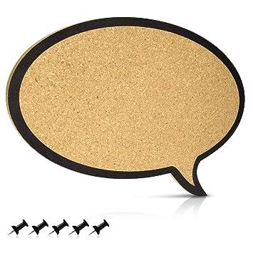 Navaris tablero de corcho con forma de diálogo - Pizarra de corcho de 44x29x1CM - Tablón para colgar anuncios y fotos con 5 chinchetas incluidas: Amazon.es: ...