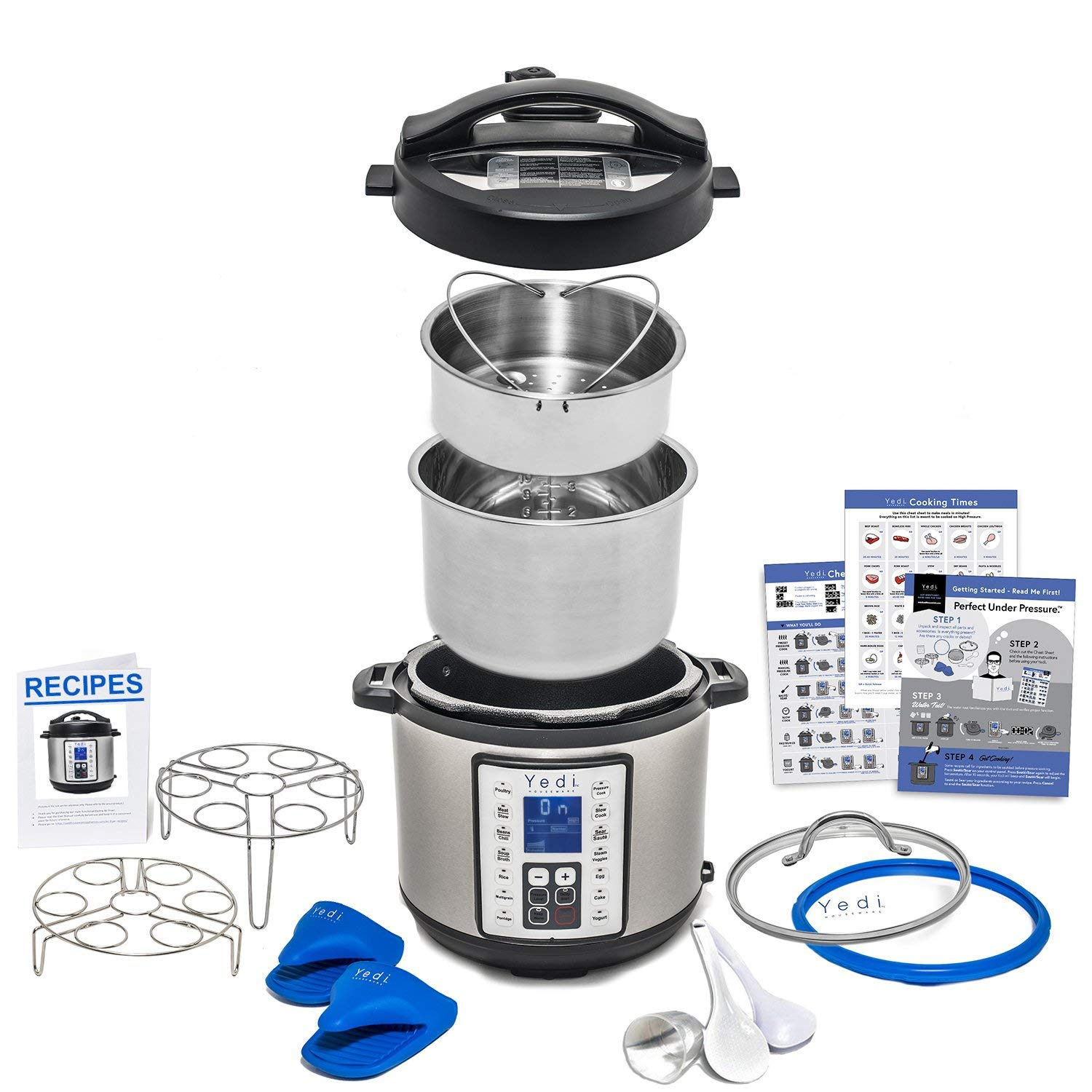 9-in-1 Instant Programmable Pressure Cooker 6 Quarts with Stainless Steel Pot, Steamer Basket, Glass Lid, Recipe Book. Pressure cook, slow cook, sauté, rice cooker, yogurt, steam by Yedi Houseware sauté Instant Pot