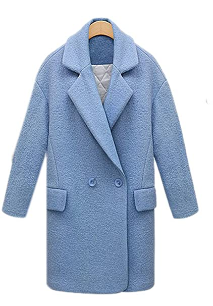 lingswallow Mujer Solapa Doble Breasted Fashion lana Trench Abrigo Chaqueta
