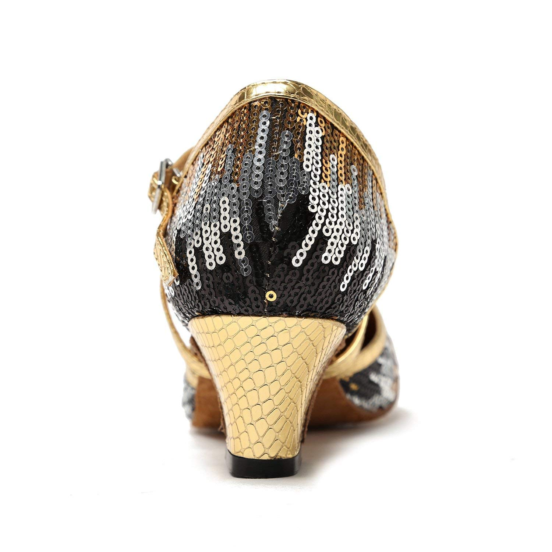 Qiusa Damen TH135 Pailletten Pailletten Pailletten Cross Strap Gold Schwarz Pleather Hochzeit Ballsaal Latin Taogo Dance Pumps Schuhe 5.5 UK (Farbe   - Größe   -) d33f7b