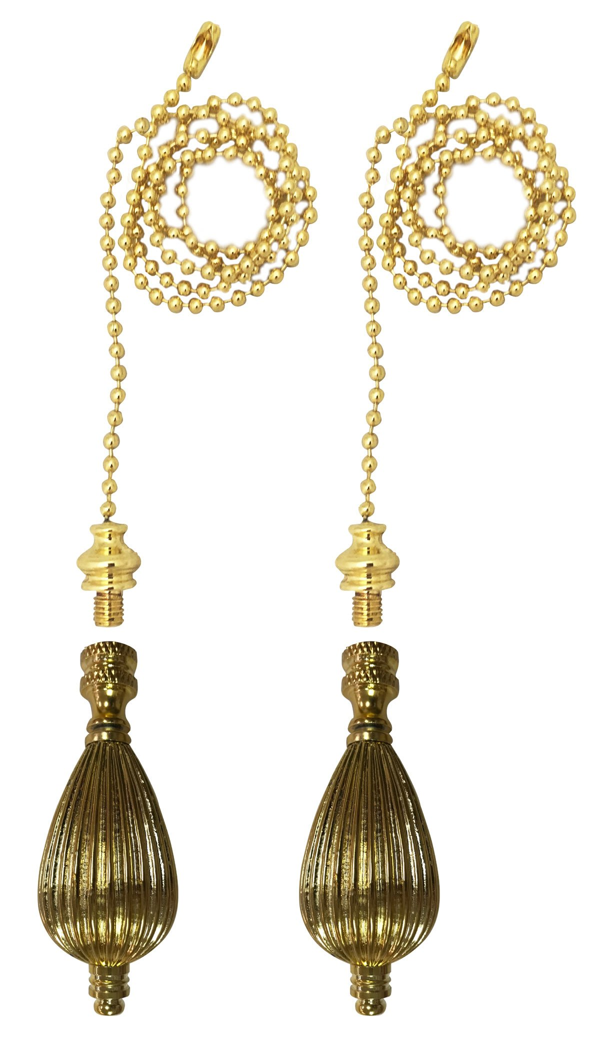 Royal Designs Fan Pull Chain with Vase Shaped Finial - Polished Brass - Set of 2