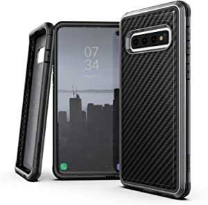 X-Doria Defense Lux, Samsung Galaxy S10 Plus Phone Case - Military Grade Drop Tested, Anodized Aluminum, TPU, and Polycarbonate Protective Case for Samsung Galaxy S10 Plus (Black Carbon Fiber)
