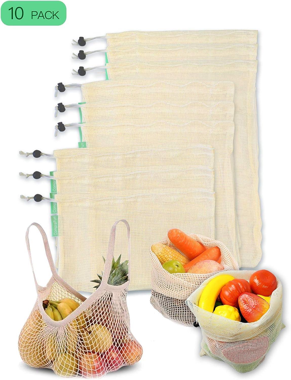 CompraFun Bolsas Reutilizables de Compra, Bolsas de Malla de Algodón Lavables y Transpirables para Frutas, Verduras, Juguetes. Libres de BPA, Ecológicas y Biodegradables (3*S, 3*M, 3*L, 1*XL). Set 10