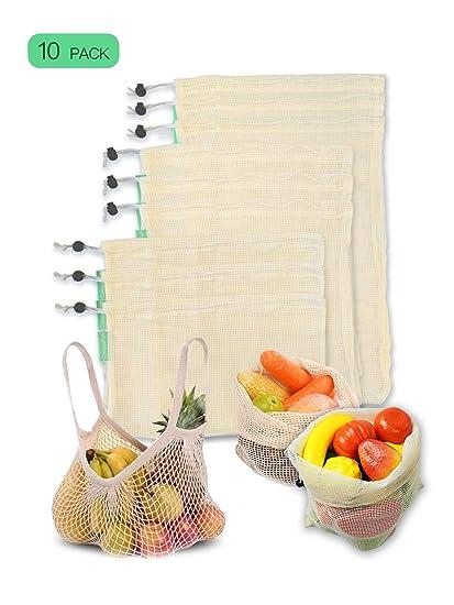 CompraFun Bolsas Reutilizables de Compra, Bolsas de Malla de Algodón Lavables y Transpirables para Frutas, Verduras, Juguetes. Libres de BPA, ...