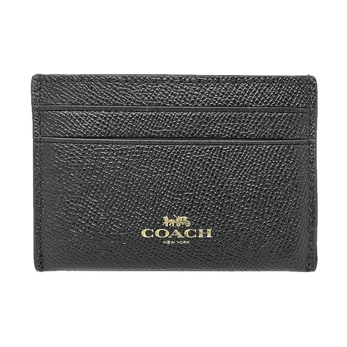 31deb7999e Coach Crossgrain Leather Flat Card Case Black F57312, Small