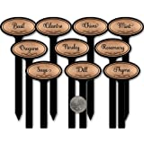 Premium Herb Garden Potted Plant Oval Laser-Engraved Stakes USA Br Copper/Black Herb 10/set