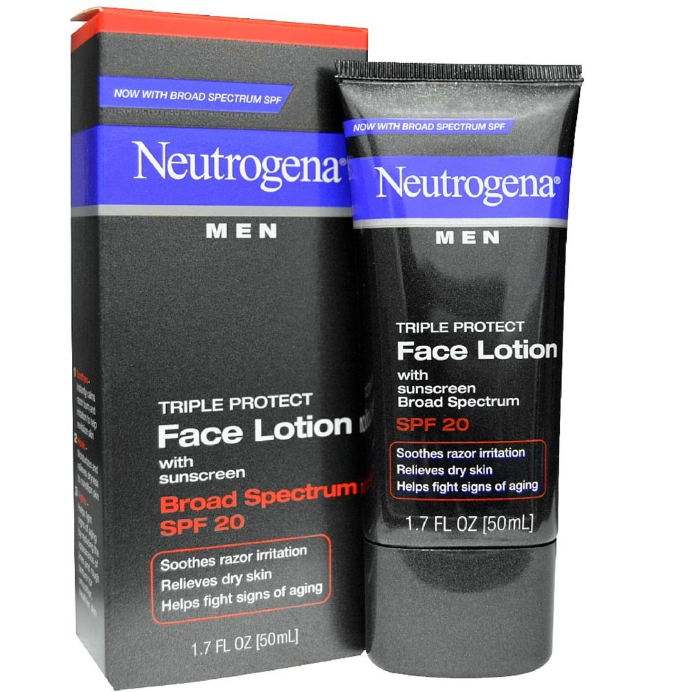 Neutrogena Triple Protect Men's Daily Face Lotion with Broad Spectrum SPF 20 Sunscreen, Moisturizer to Fight Aging Signs, Soothe Razor Irritation & Relieve Dry Skin, 1.7 fl. oz (Pack of 3)