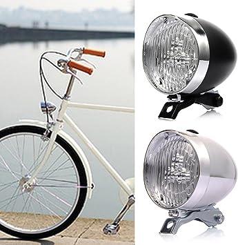 Faro delantero para bicicleta (3 LED, funciona con pilas, 2 modos, con soporte), diseño retro, blanco: Amazon.es: Deportes y aire libre