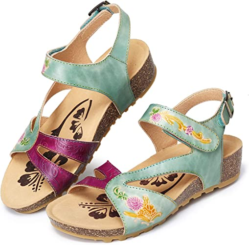 Ladies Leather Ankle Straps Soft Comfortable Womens Weave Flower Shoes SZ