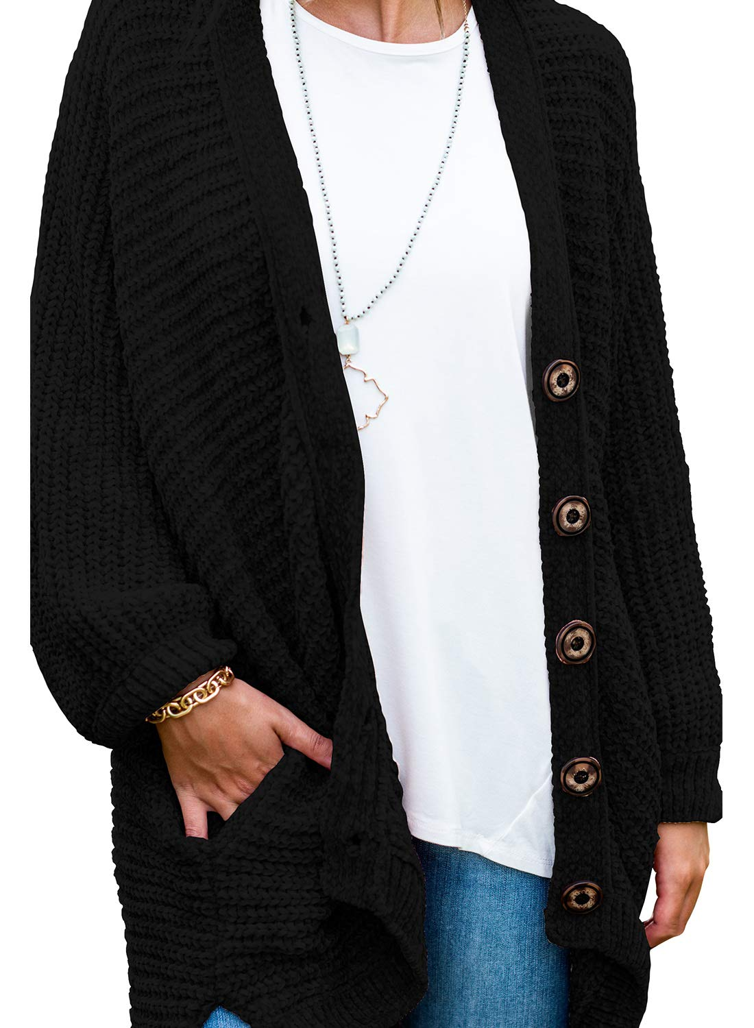 Women's Long Sleeve Button Down Oversized Open Front Cardigans Loose Chenille Knit Sweater Coat Casual Outwear Pocket Black XXL 20 22