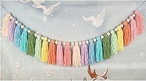 Pastel Pom Pom Garland, Rainbow Tassel Garland Room Decor with Wood Bead Colorful Garland for Girls Bedroom Wall Classroom Nursery Party Kids Room Birthday Baby Shower Decor (Pastel)