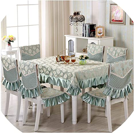 Amazon Com 13pcs Set Rectangular Table Cloth With Chair Covers Wedding Banquet Tablecloth Dining Table Cover Jinsuiyuecixiulv About 150x200cm Home Kitchen