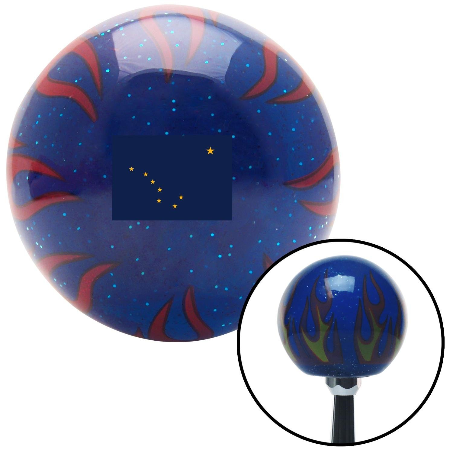 American Shifter 310327 Shift Knob Alaska Blue Flame Metal Flake with M16 x 1.5 Insert