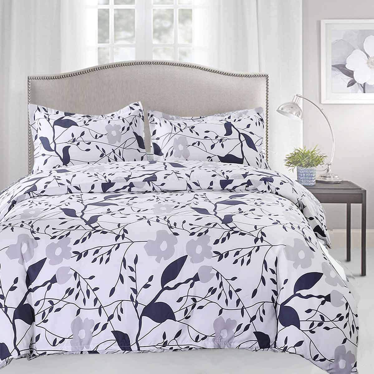 Duvet Cover Set Queen Size - 3 Pieces Floral Leaf Vintage Flower Microfiber Soft Lightweight Down Duvet Comforter Quilt Bedding Covers with Zip Ties - 90x90 inch for Women Men, Beige Navy Blue