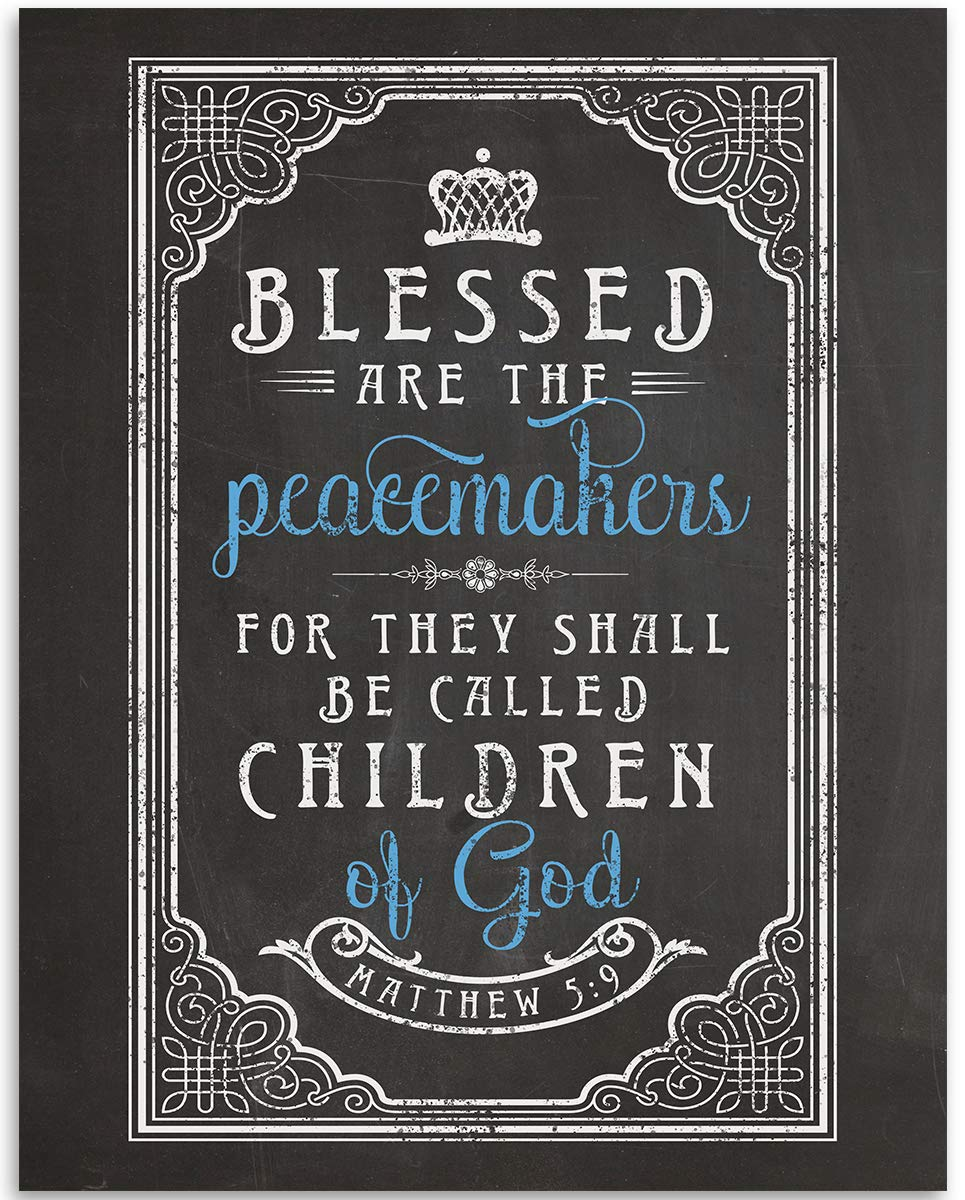Blessed Are The Peacemakers - Matthew 5-9 - 11x14 Bible Quote Wall Decor Unframed Art Print