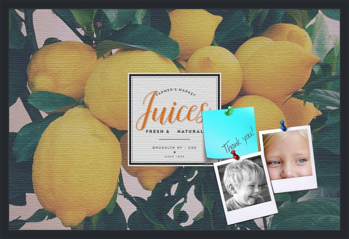 PinPix decorative pin cork bulletin board made from canvas, Recipe Board with Lemon Tree 36x24 Inches (Completed Size) and framed in Satin Black (PinPix-Group-36)