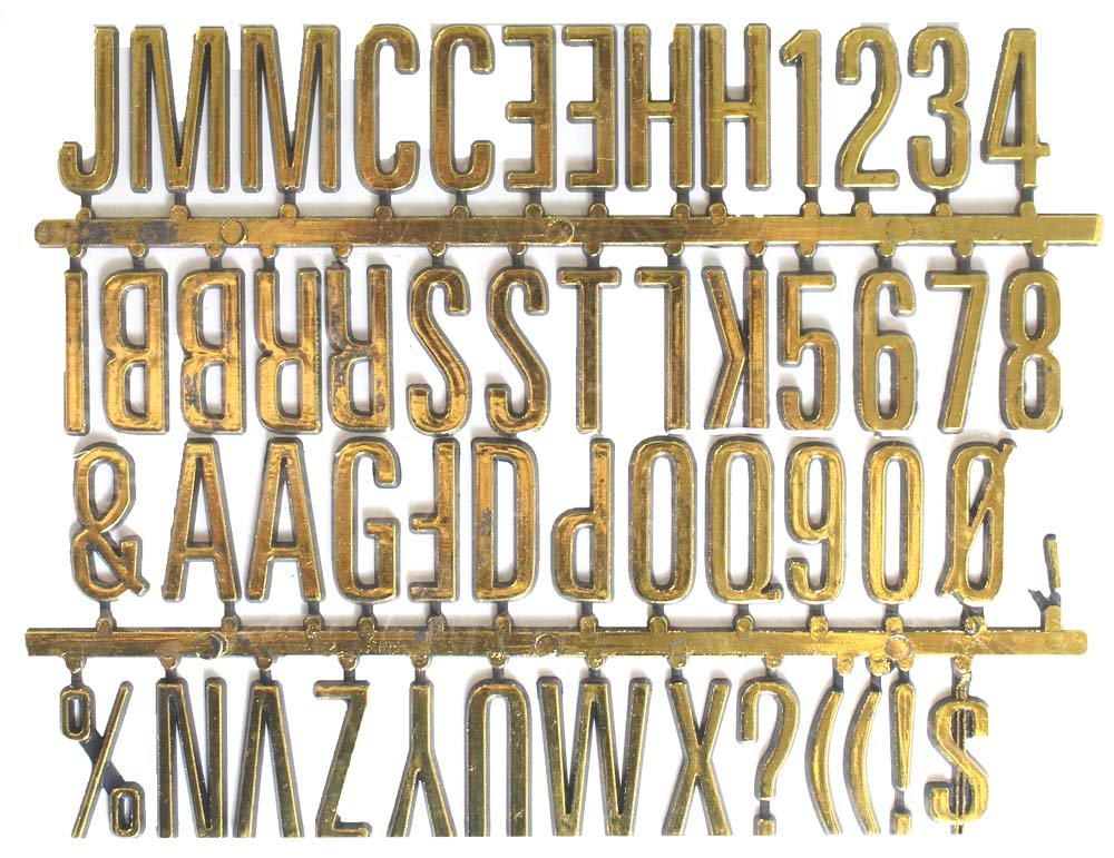 "1"""" Tall Golden Plastic Letters And Numbers Self-adhesive Sign Set : ( Pack of 1 Pc )"