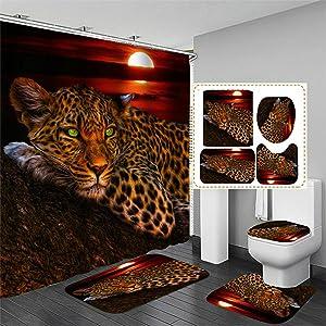 4Pcs Moon Leopard Cheetah Shower Curtain Sets with 12 Hooks Bathroom Shower Curtain Toilet Mat Lid Rug,Bathroom Sets with Shower Curtain and Rugs and Accessories