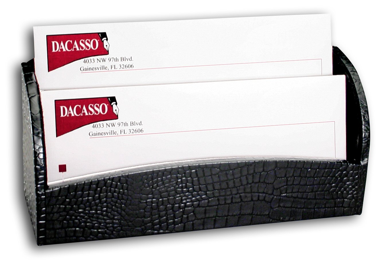 Dacasso Black Crocodile Embossed Leather Letter Holder