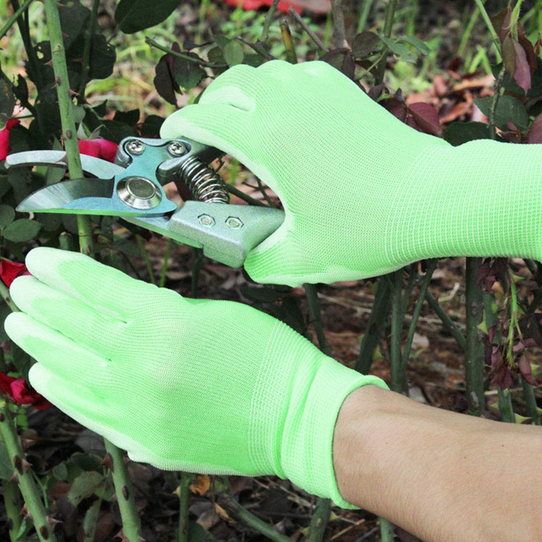 Radish Stars Green Color PU Garden Gloves Non-slip Comfortable Cleaning Gloves for Outdoor Gardening Cutting Planting Cleaning to Protect Your Arms
