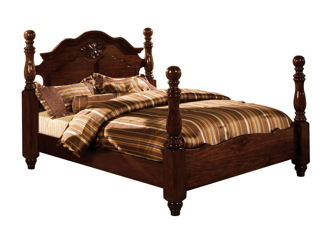 Furniture of America Scarlette Classic Four Poster Bed, Eastern King, Glossy Dark Pine