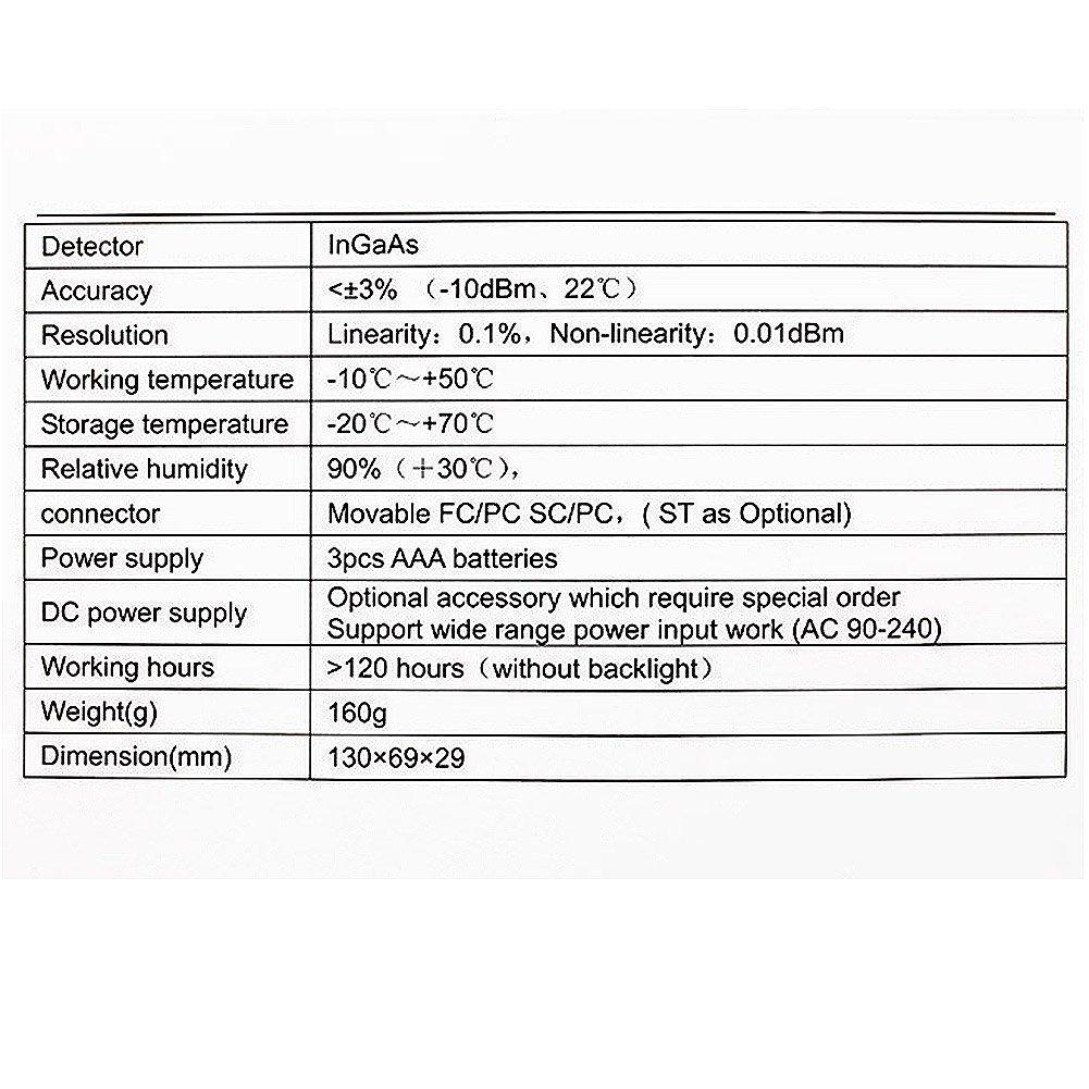 SeeKool TL510 port/átil /óptico medidor de Potencia,-70~+10 dBm//-50~+26 dBm FC SC ST Conector Longitud de Onda de Trabajo 850-1625nm -50~+26 dBm