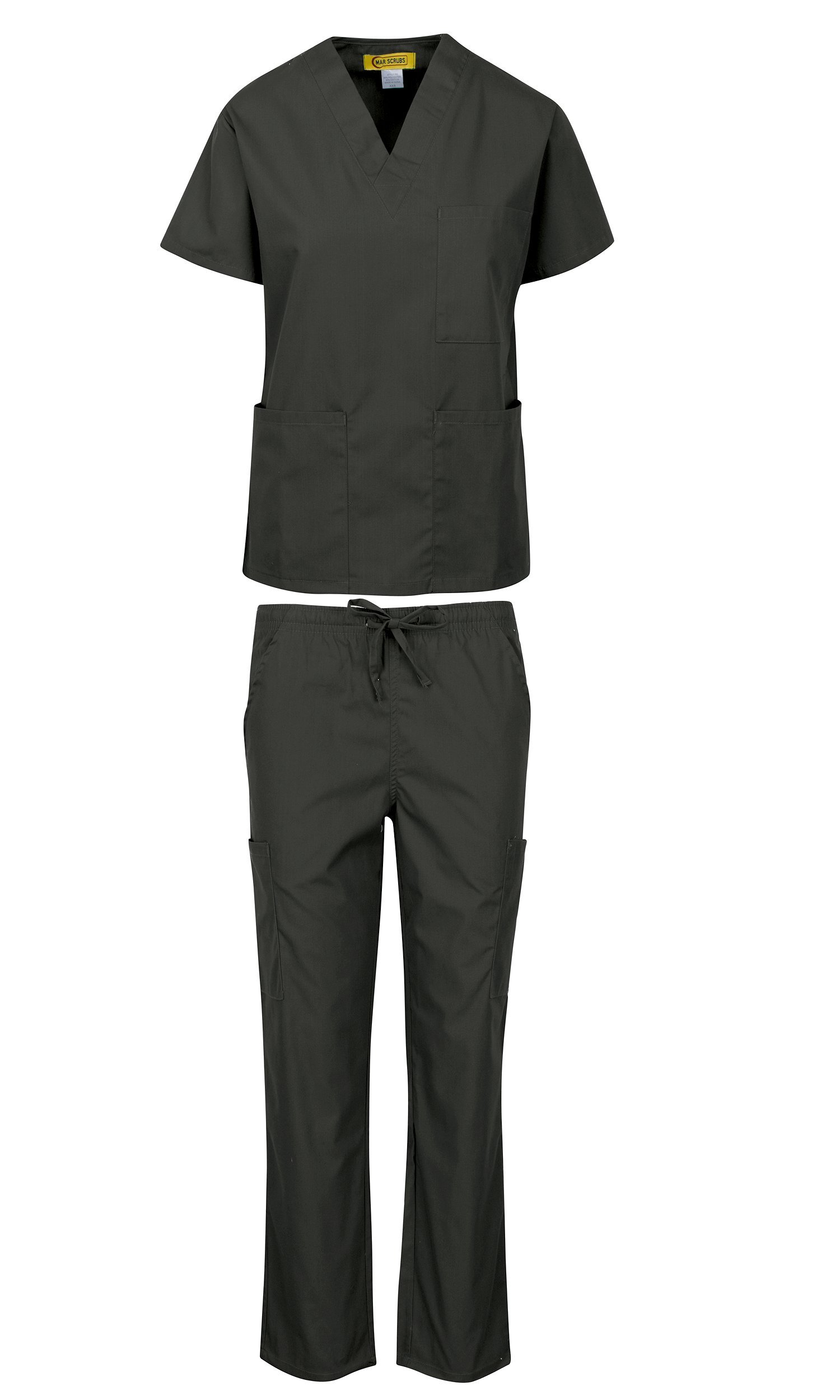 MAR SCRUBS Medical Uniform Women and Man Medical Scrubs Sets Top and Pants Dark Grey-S