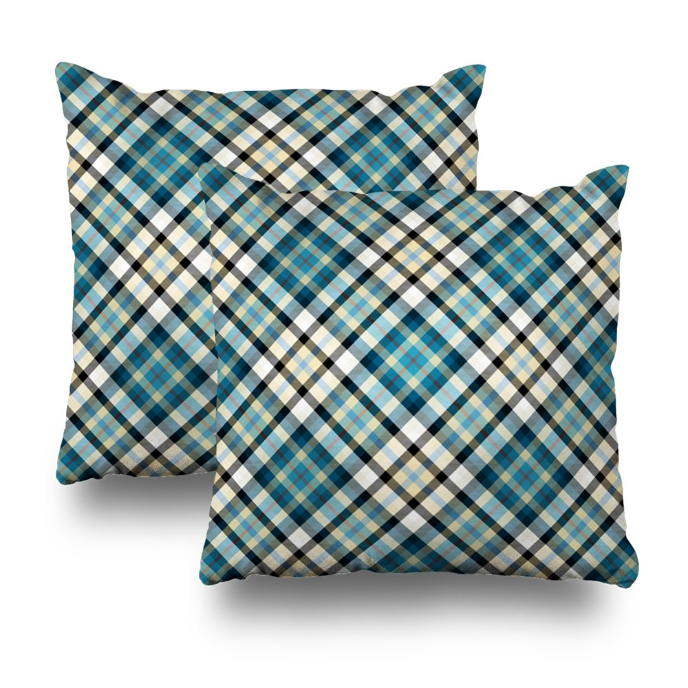 Rustic Ocean Blue Square Decorative Throw Pillow Case, Fashion Style Zippered Cushion Pillow Cover (18X18 inch,Set of 2)