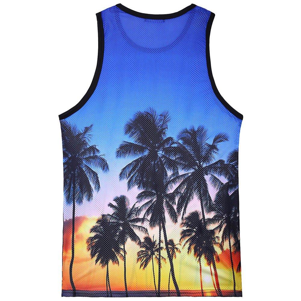 004 Yoga Fitness Ginnastica Formazione JKLEUTRW Canotte Uomo Canotterie Sportivo Palestra Muscolo Hawaiano Stampato Gilet Veste Casual Tank Top Senza Manica Estate T-Shirt Canottiera Slim Fit