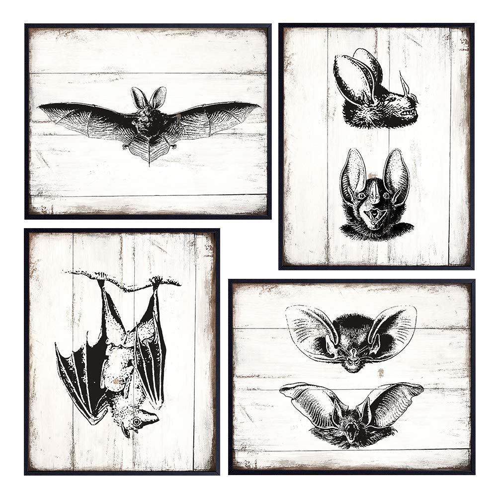 Goth Rustic Vintage Bats Wall Art Decor - 8x10 Retro Antique Style Decoration Poster Pictures Set for Home, Apartment, Office, Living Room, Bathroom, Bedroom - Gothic Gift for Men