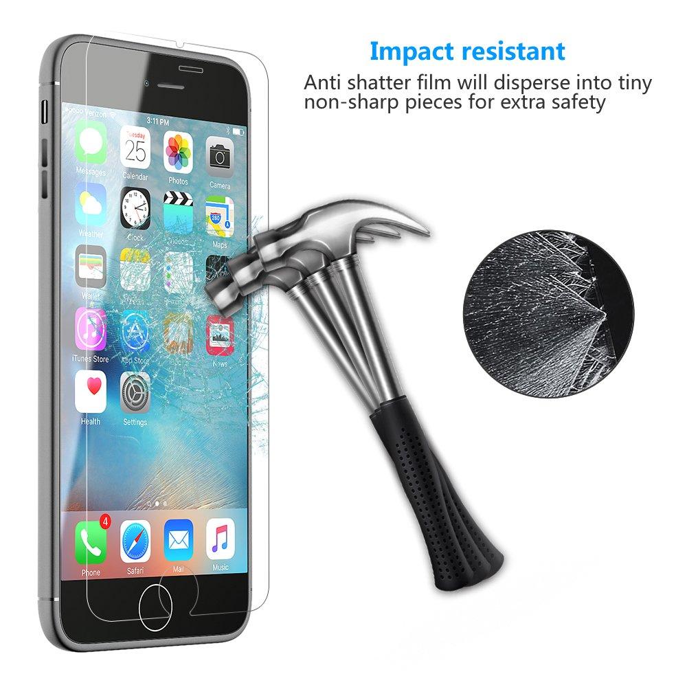 Protector de Pantalla Cristal Vidrio Templado Para iPhone 6 Plus 6S Plus de IZUKU(2 PACKS)-- Fácil de instalar sin burbujas de aire Anti rayas con Ultra resistente 9H dureza compatible 3D táctil (0,26mm HD de alta definición) de cristal pel