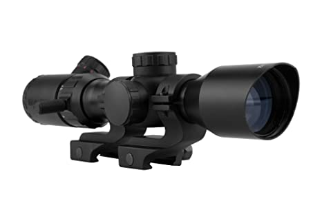 Monstrum 2-7x32 Rifle Scope with Rangefinder Reticle and High Profile Scope  Rings