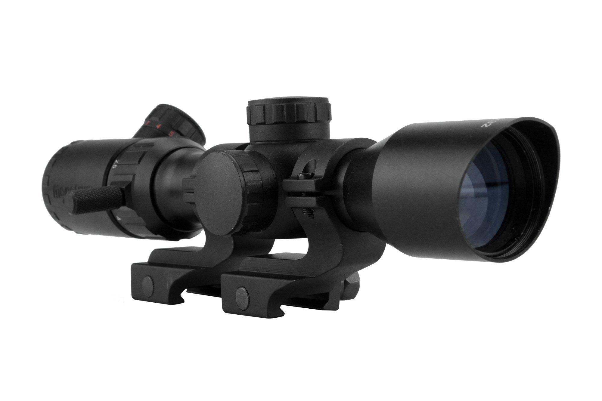 Monstrum Tactical 2-7x32 Rifle Scope with Rangefinder Reticle and Offset Reversible Scope Rings (Black/Black Rings)