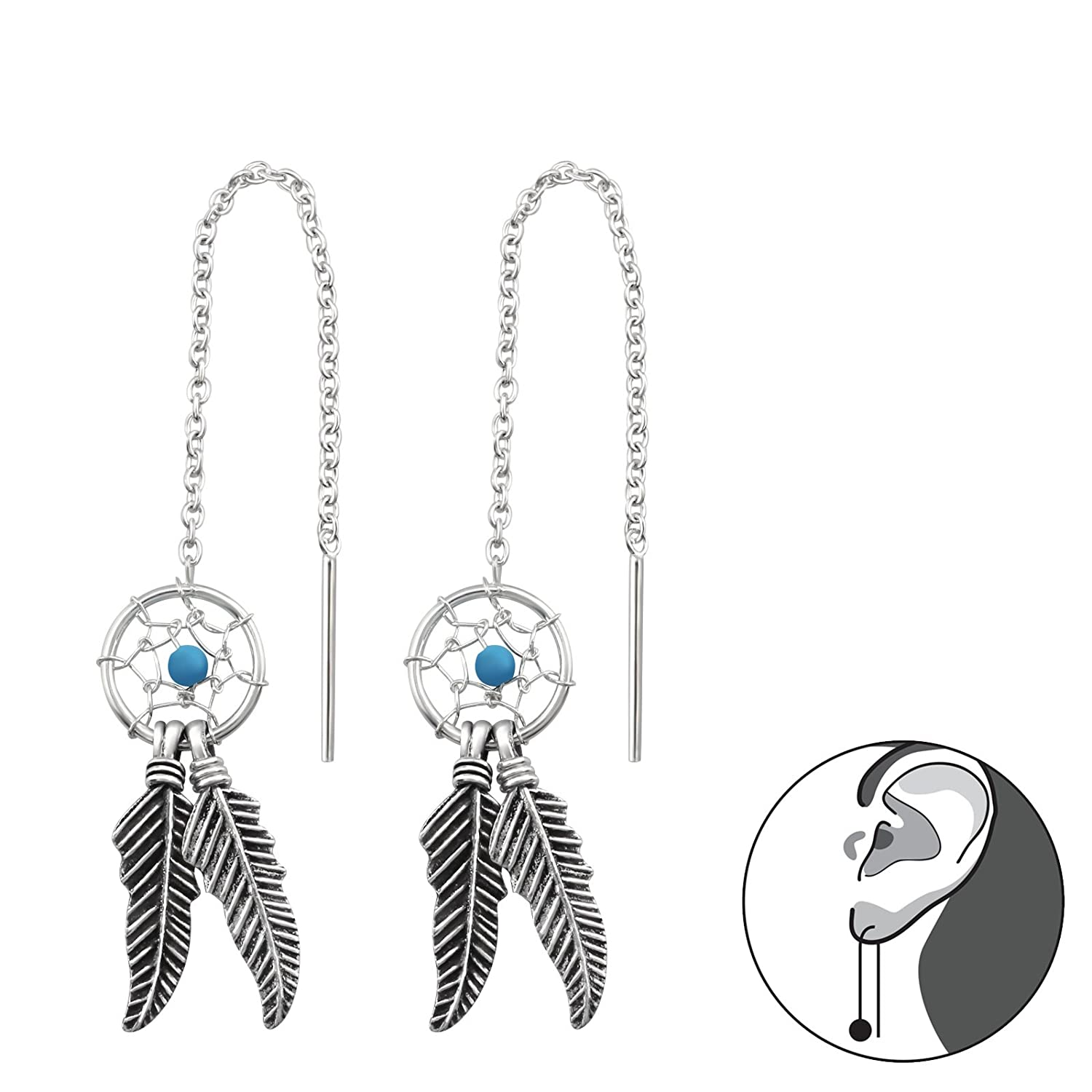 Sides without Cam Tata Gisele/© Earrings Sterling Silver 925//000/Rhodium-Plated Drop 2 Chain Dreamcatcher