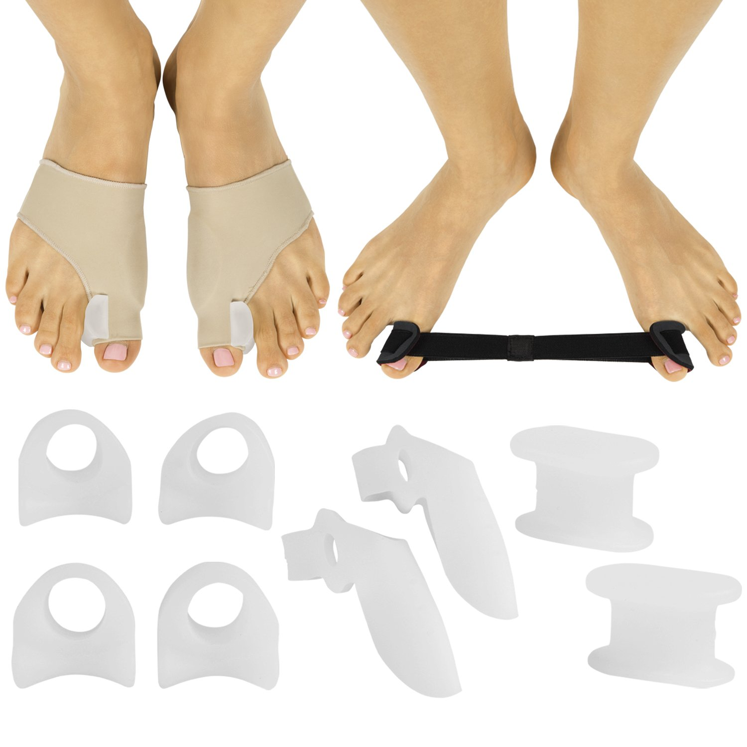 Bunion Corrector Kit by ViveSole - Hallux Valgus Relief Splint, Foot Guard, Protector, Big Toe Separator Spacer Regulator, Gel Sleeve for Bunion Treatment - Post Surgery Recovery for Feet/Foot Pain