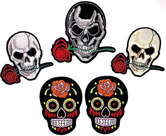 i-Patch Flicken Totenkopf Flicken Badges Live Free zum aufb/ügeln Patch 0095 Aufn/äher Schwarz Skull Patches Iron-on Applikation Skelett B/ügelbild Aufb/ügler Sticker