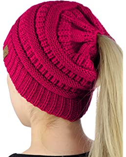 01af9d24b22 C.C BeanieTail Soft Stretch Cable Knit Messy High Bun Ponytail Beanie Hat