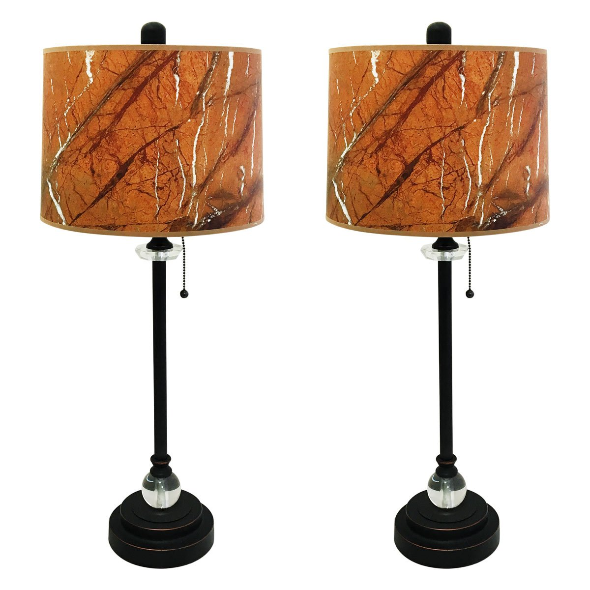 Royal Designs 28'' Crystal and Oil Rub Bronze Buffet Lamp with Orange Marble Texture Hardback Lamp Shade, Set of 2