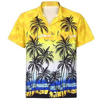 Winkey - Camiseta Hawaiana para Hombre, Manga Corta, Bolsillo ...