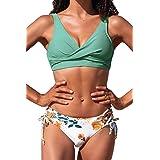 CUPSHE Women's Bikini Swimsuit Front Cross Lace Up Two Piece Bathing Suit