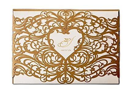 photograph relating to Printable Cardstock Invitations identified as WISHMADE 100 Gold Laser Reduce Marriage Invites Cardstock Package with Envelope, Printable Birthday Occasion Invitations with Centre Style, for Engagement Bridal