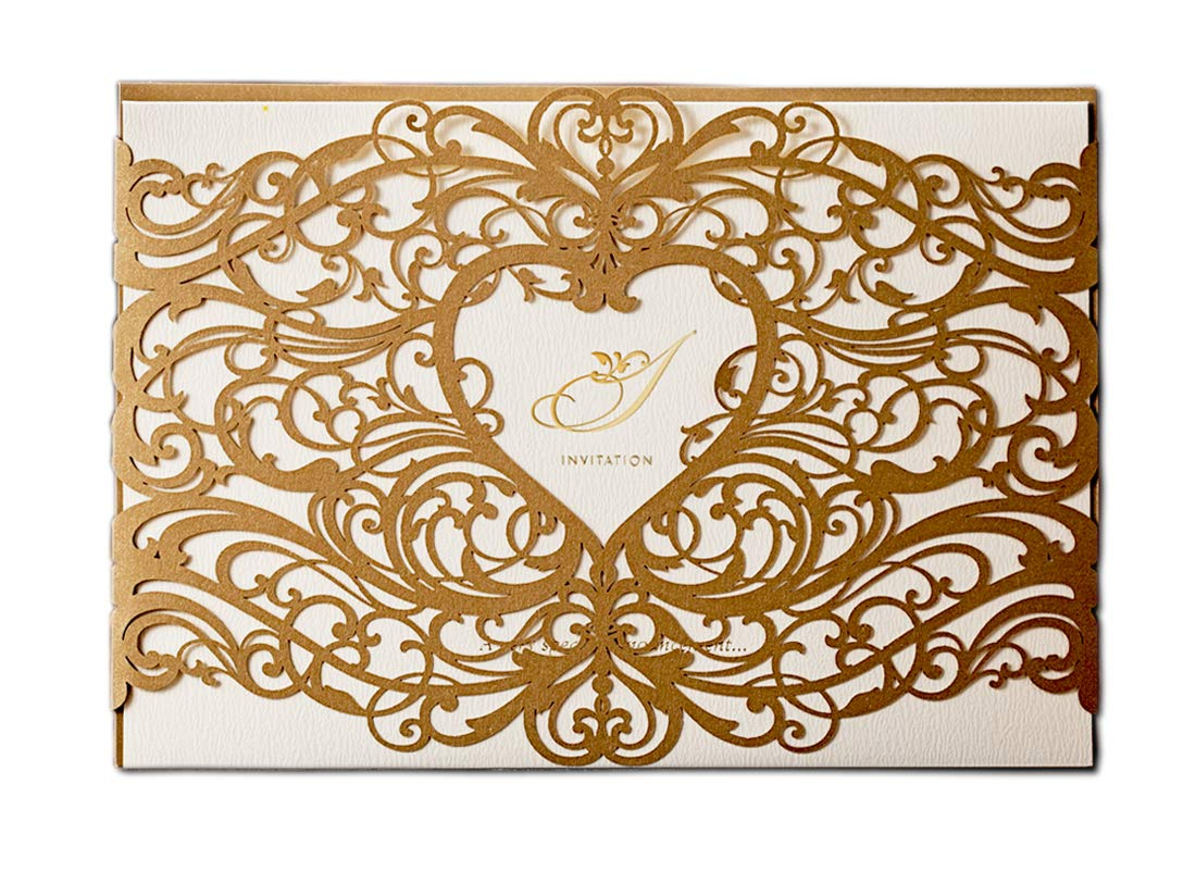 WISHMADE 50 Gold Laser Cut Wedding Invitations Cardstock Kit with Envelope, Printable Birthday Party Invites with Heart Design, for Engagement Bridal Shower Baby Shower Retirement