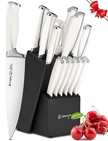 Amazon Com Knife Set 15 Piece Kitchen Knife Set With Block Abs