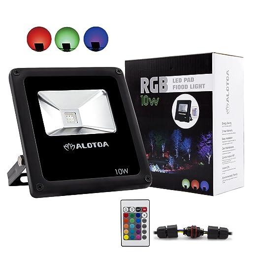 ALOTOA 10W Foco proyector RGB LED, con Control Remoto, 16 Colores ...