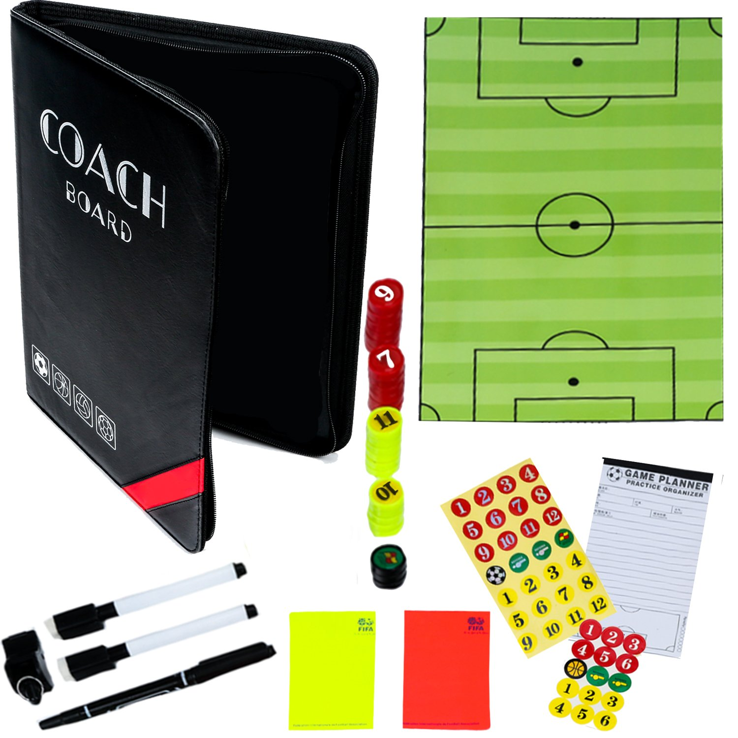 dd7f805e5 Dry-Erase Soccer Coaching Clipboard - Coach's Equipment that Includes  Magnetic Board, Scorebook, Playbook, Whistle, Cards and Extras for  Strategist, ...